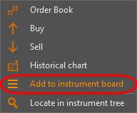 Adding instruments via the context menu